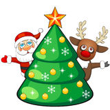Deer and Santa Claus with Christmas tree Royalty Free Stock Photos