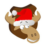 Deer with Santa Claus hat Royalty Free Stock Photo