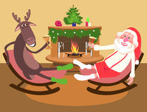 Deer and Santa Claus say a toast Stock Photos
