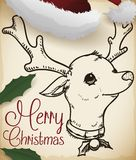 Deer in a Scroll, Cap and Holly Leaves for Christmas, Vector Illustration royalty free illustration