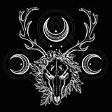 Deer scull  with branches and ornate moons. Royalty Free Stock Images