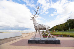 Deer sculpture of metal on a background the sky Royalty Free Stock Photography