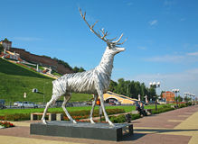 Deer sculpture - the symbol of Nizhny Novgorod Royalty Free Stock Images