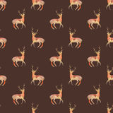 Deer. Seamless pattern with cosmic or galaxy deers. Hand-drawn original animal background. Royalty Free Stock Image