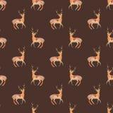 Deer. Seamless pattern with cosmic or galaxy deers. Hand-drawn original animal background. Royalty Free Stock Image