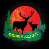 Deer shadow in valley and sun circle background logo is line blend art style Royalty Free Stock Photos