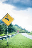 Deer signage on highway Stock Photos
