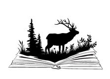Deer sihlouette in the open book. Nature exploration illustration Stock Image