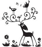Deer silhouette. Silhouette of a deer with a birds on the horns Royalty Free Stock Photo