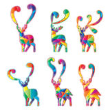 Deer silhouette cut colorful set Stock Images