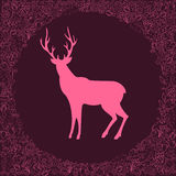 Deer silhouette in floral frame Stock Photo