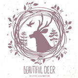 Deer silhouette forestry Stock Photo