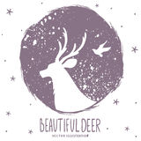 Deer silhouette grunge Royalty Free Stock Photo