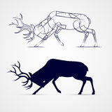 Deer Silhouette. Horned Deer Silhouette with Sketch Template on Gray Stock Image