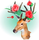 Deer silhouette with horns made of flowers on the green background. Red roses on the horns. March, summer, spring. Holiday design for invitation and wedding vector illustration