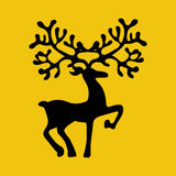 Deer silhouette illustration. Deer silhouette on the yellow background. Vector illustration Royalty Free Stock Image