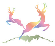 Deer silhouette. Silhouette of a deer jumped in nature royalty free illustration