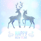 Deer silhouette new year Stock Images