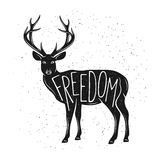Deer silhouette vintage graphics print Royalty Free Stock Photo