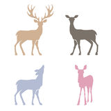 Deer silhouettes set. Stock Photography