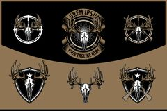 Deer skull head with cross rifle vector badge retro logo template for hunting club. Set of deer skull head with cross rifle vector badge retro logo template for vector illustration