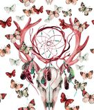 Deer skull seamless pattern. Animal skull with dreamcather and butterfly. Royalty Free Stock Photos