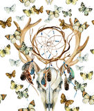 Deer skull seamless pattern. Animal skull with dreamcather and butterfly. Royalty Free Stock Images