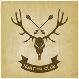 Deer skull silhouette old background. hunting club design Royalty Free Stock Photo