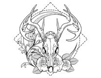 Deer Skull Tattoo Sketch With Roses Vintage Neo Traditional