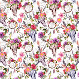 Deer skulls, flowers, dream catchers - dreamcatcher. Seamless pattern. Watercolor Royalty Free Stock Image