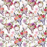 Deer skulls, flowers, dream catchers - dreamcatcher. Seamless pattern. Watercolor Royalty Free Stock Photos