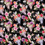 Deer skulls and flowers. Seamless pattern. Watercolor Stock Photos