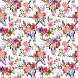 Deer skulls and flowers. Seamless pattern. Watercolor Stock Image