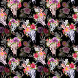 Deer skulls and flowers. Seamless pattern. Watercolor Stock Images