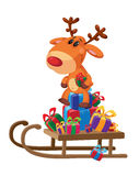 Deer sledge with gifts Stock Photos