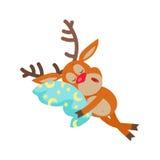 Deer Sleeping on Pillow Isolated. Reindeer Sleeps Stock Photos