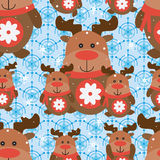 Deer snowflake seamless pattern Royalty Free Stock Images