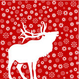 Deer with snowflakes Stock Photos