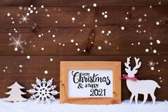 Free Deer, Snowflakes, Snow, Tree, Merry Christmas And Happy 2021 Stock Photos - 192069093