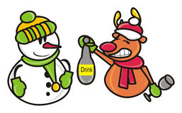 Deer and snowman Stock Images