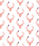 Deer,stag flower and bird seamless pattern,vector. Deer,stag flower and bird seamless pattern Stock Images