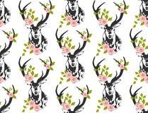 Deer, stag flower leaves seamless pattern. Deer, stag flower seamless pattern Stock Photo