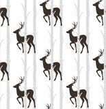 Deer,stag   seamless pattern. Deer and birch seamless pattern, vector Stock Photo