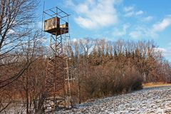 Deer stand. Old deer stand, used also as a lookout tower Royalty Free Stock Photography