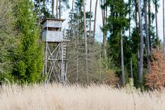 A deer stand in front of a meadow in the Natural Reserve schoenb. Uch in Germany Stock Images