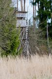 A deer stand in front of a meadow in the Natural Reserve schoenb. Uch in Germany Royalty Free Stock Photography