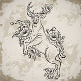 Deer standing on hind legs with bouquets of flowers in sketch style. Vintage vector hand drawn illustration on aged grunge backgro Royalty Free Stock Photography