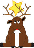 Deer and Star. Comical red-nosed deer with star caught in its antlers vector illustration