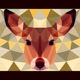 Deer stares forward. Nature and animals life theme background. Abstract geometric polygonal triangle illustration for design card, invitation, poster, banner Royalty Free Stock Images