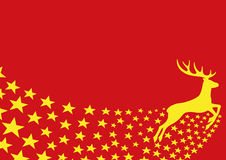 Deer and stars on red Stock Images